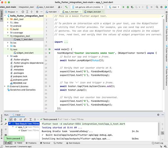 在 IntelliJ / Android Studio 中对 Flutter 应用进行集成测试